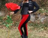 Ladies Bi-Color Velvet Leggings - pick your color/ pick your size