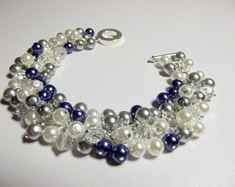Blue, Silver, and White Pearl Bracelet, Wedding Jewelry, Bridesmaid Mom Sister Jewelry Gift, Cluster Slightly Chunky