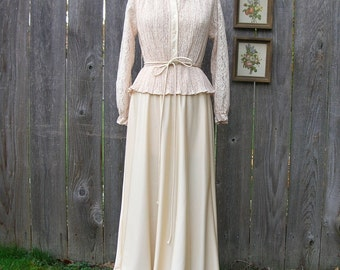 Vintage 70s CREAM BRULEE Peekaboo Lace and Knit Maxi Dress