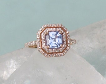 Rose Gold Asscher Cut Ice Blue Sapphire Wedding Ring Gemstone Engagement Ring