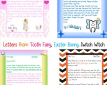 PRINTABLE Personalized Boys and Girls Custom Letter from: Tooth Fairy, Santa Claus, Easter Bunny, Switch Witch