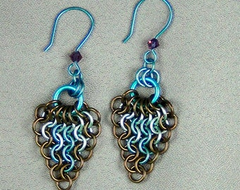 """Enameled Copper, Niobium Rings, Smokey Topaz, Ice Blue, Teal, Niobium Earwires - 2.50"""" - Peacock Feather - Hand Crafted Artisan Jewelry"""