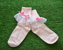 Pale Pink -  Lace Socks with Bow for Little Girls - Size 8-9 1/2 (M) - US Shoe Size 12-6