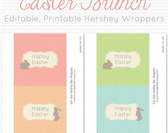 Easter Candy Bar Wrapper, Candy Bar Label, Party Favor, Easter Party Supplies, Bunny Silhouette -- Editable, Printable, Instant