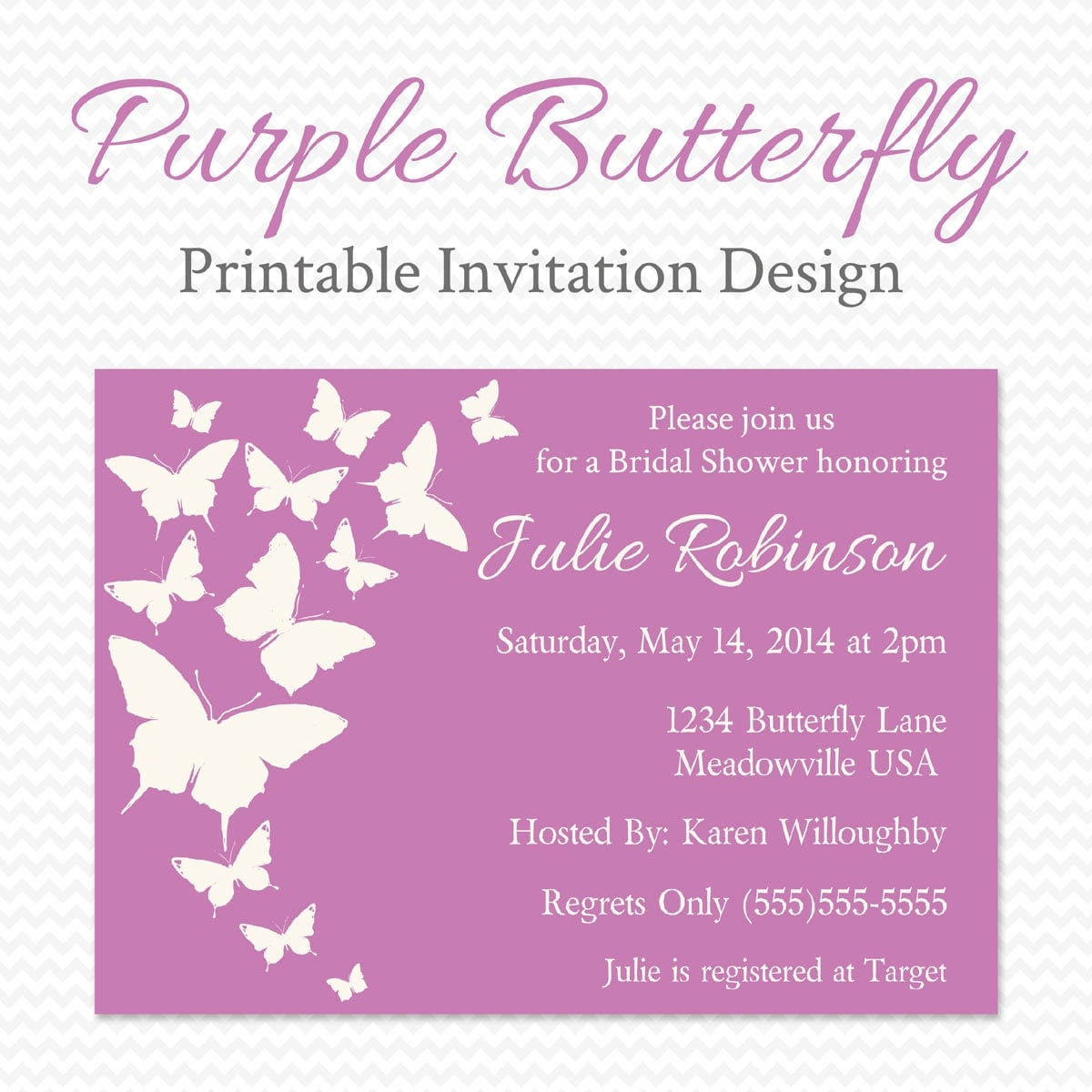 Butterfly Baby Shower Invites: Purple Butterfly Baby Shower Invitation Butterfly Bridal