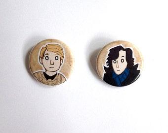 """Sherlock Holmes John Watson 1.25"""" Pinback Button or magnet Set of 2 Designs"""