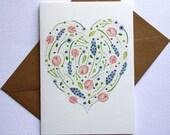 Watercolour floral heart card