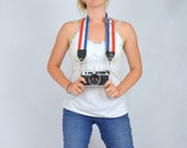 Vintage Patriotic Camera Strap - Red White and Blue Stripes