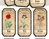 Spring Flowers Apothecary Labels 4.5 x 2.23 inch Jar Labels Tags instant download digital collage sheet VD0721