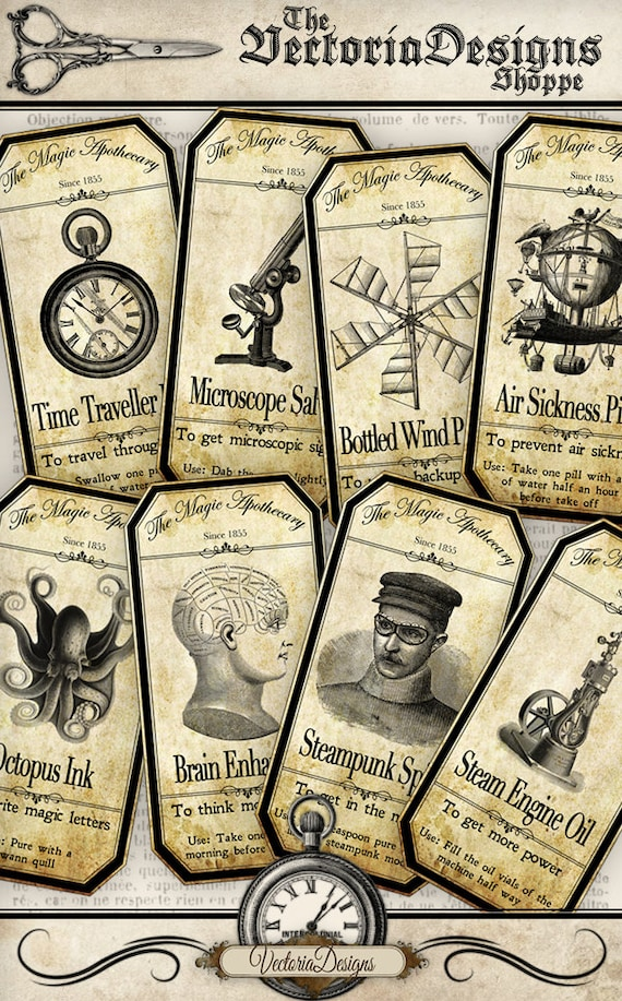 Steampunk Apothecary Bottle Labels