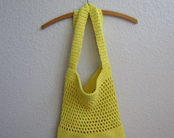 Cotton Crochet Tote Bag in Bright Yellow - Eco-Friendly