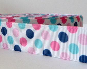 Pink and Blue 22mm Polka Dot Grosgrain Ribbon