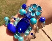 Blue Slider Bracelet Set-Nature Inspired bracelet set-Prom Jewelry, Bridal Jewelry, Jewelry Gift