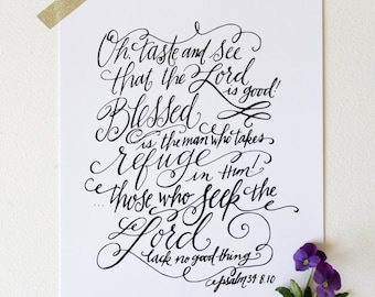 INSTANT DOWNLOAD - Oh Taste and See -  Hand Lettered Print by Mandy England