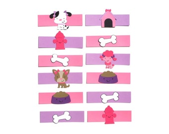 Puppy Party Cute Girly Themed Party Napkin Rings Set of 12 for Birthday Party Decoration