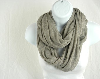 Cozy as Can Be Heather Grey Rib Knit Infinity Scarf With a Touch of Gold Sparkle Handmade Fashion by Thimbledoodle