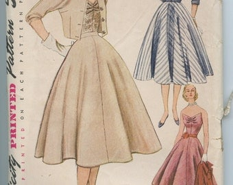 1950s Simplicity 8471 Three Piece Evening Dress Flared Skirt, Fitted Jacket, Wing Front Strapless Bodice Top Vintage  Pattern Bust 36