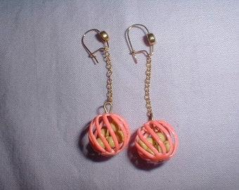 vintage neon orange dangle earrings caged yellow beads drop earrings filigree ball earrings fun bright earrings pierced earrings da-glo