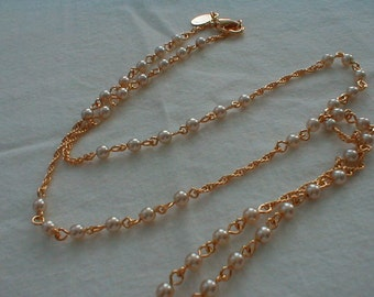 vintage nolan miller seed pearls necklace gold necklace fine chain necklace stations necklace seed pearl necklace vintage pearl necklace nm