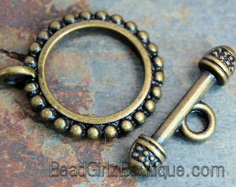 """Antiqued Gold-plated """"pewter"""" (zinc-based alloy), 18mm double-sided beaded round -pkg of 4"""