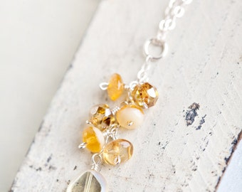 Yellow Dainty Sterling Necklace Honey Golden Buttercups