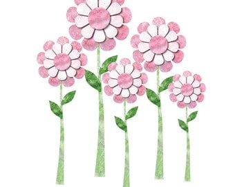 Large Daisy Wall Decals - Set of 6 Flower Wall Stickers  (113-stick-17)