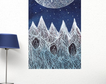 Luna and the Blue Ridge Mountains Wall Decal - Ethereal Art by Elise Mahan