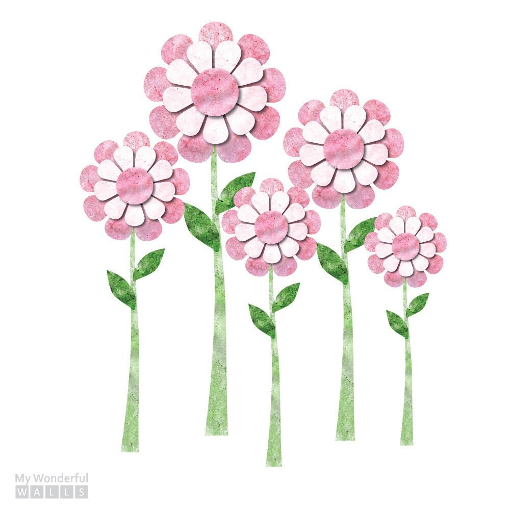 large daisy wall decals set of 5 flower wall stickers