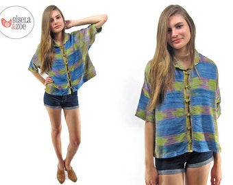 On Sale - Vintage 80s Space Dyed Raw Silk Top, Loose Cut, Oversized, Boxy Top ΔΔ can fit • xs • sm • md