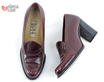 90s Nine West Chunk Heel Loafers ΔΔ Preppy Heeled Loafers Chunky Heel Loafers ΔΔ size 5.5