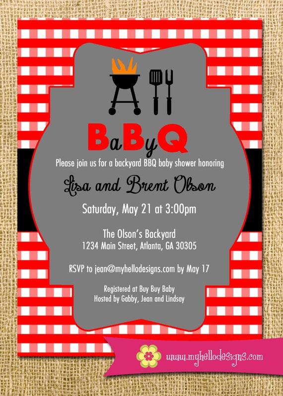Printable BBQ Invitation Backyard BBQ Shower Invite DIY