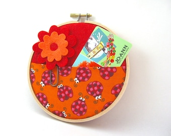Gift Card Holder, Wall Organizer, Valentine's Day Red Orange Bumble Bee Unique New Home Teacher Gift Free US Shipping