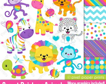 Jungle clipart - SWEET RAINBOW ANIMALS - Clip Art and Digital paper set