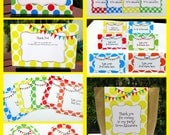 Colorful Party Invitations & Decorations - full Printable Collection - EDITABLE text you personalize at home - INSTANT DOWNLOAD