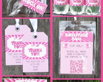 Rock Star Invitation & Birthday Party Decorations - full Printable Collection - INSTANT DOWNLOAD with EDITABLE text you personalize at home