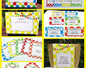 Editable Polkadot Party Invitations & Decorations - full Printable Package - INSTANT DOWNLOAD with EDITABLE text - you personalize at home