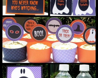 Editable Halloween Party Invitations & Decorations - full Printable Package - INSTANT DOWNLOAD with EDITABLE text - you personalize at home