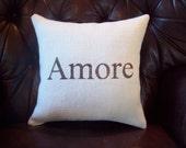 Burlap Amore Pillow - Valentines Day Pillow - Other Colors Available - Love Pillow - Decorative Burlap Pillow - Valentines Day Decorations