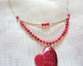 Rhodochrosite Gemstone Heart Pendant Necklace Sterling Silver