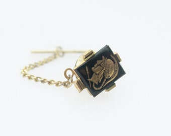 Vintage Black and Gold Roman Soldier Tie Pin