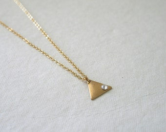 Tiny Triangle Necklace, Swarovski Crystal, Minimalist Jewelry, Dainty, Stocking Stuffer