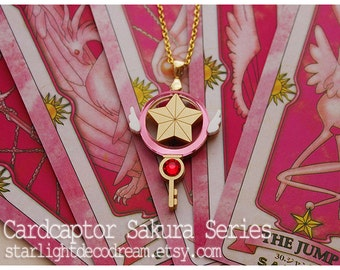 MADE to ORDER Cardcaptor Sakura Clow Star Key Inspired Gold Acrylic Necklace or Phone Strap for Mahou Kei, Magical Girl Fashion