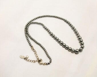 Faux Black Pearl Strand Necklace