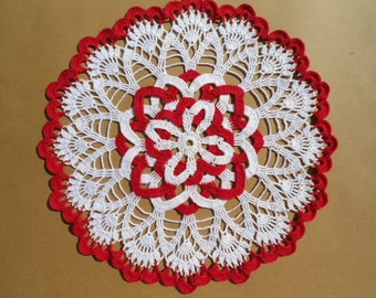 White and red crochet doily , lace doily , round , 12 inches
