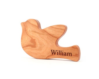 personalized peace dove RATTLE - an all natural wooden teething and grasping toy, keepsake baby shower gift with organic homegrown finish