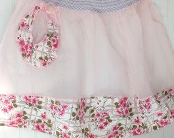 Vintage Pink Sheer Apron With floral cotton trim