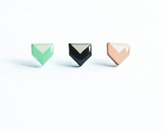 Chevron stud earrings geometric jewelry black stud earrings pentagon mint stud earrings beige post earrings