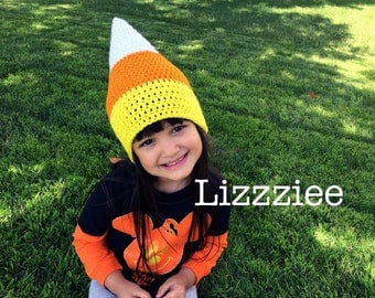Candy Corn crochet hat  - baby toddler child sizes - 6 months 12mo 18mo 2t 3t 4t 5 - Halloween hat