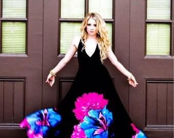 Midnight Blossoms  Braided Halter Jersey Gown