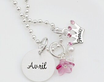 Princess Necklace - Personalized Necklace - Princess Crown Necklace - Charm Necklace for Girls